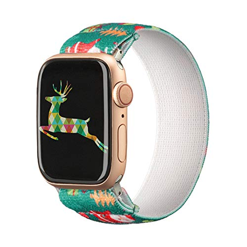 TOYOUTHS Christmas Elastic Band Compatible with Apple Watch Band Stretchy Loop 38/40mm Soft Nylon Strap Women Replacement Wristband for iWatch Series SE/6/5/4/3/2/1
