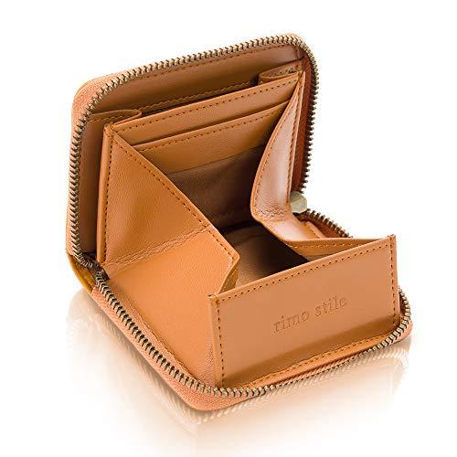 [rimo stile] 小銭入れ メンズ コインケース 財布 ボックス型 YKKファスナー 取り出しやすい (キャメル)
