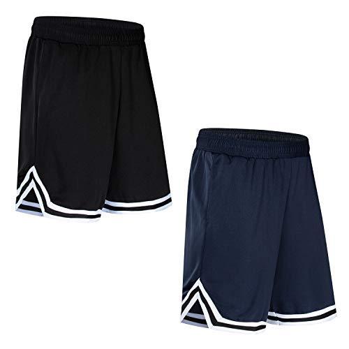 Lot de 2 shorts de basket-ball Mengmi pour homme - Pour le sport, la course à pied, la salle de sport - 1 bleu + 1 noir - 5XL