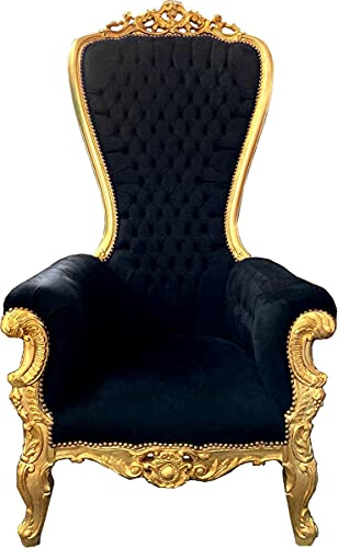 Casa Padrino Sillón Trono Barroco Majestic Negro/Dorado - Sillón Trono Gigante Tron