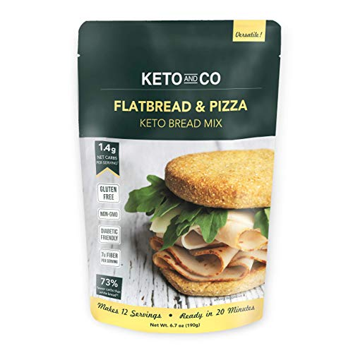 Keto Flatbread & Pizza Bread Mix by Keto and Co | Just 1.4g Net Carbs | Gluten Free, Diabetic & Keto Friendly, Non-GMO | Great for Burgers, Sandwiches, Pizza | Pack of 6
