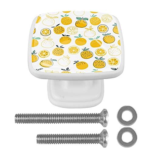 Juego de 4 tiradores de cajón y pomos para cajones con tornillos, cristal de cristal, para cajón, gabinete, tirador de armario, accesorios para acuarela, frutas y naranja limón, 35 mm