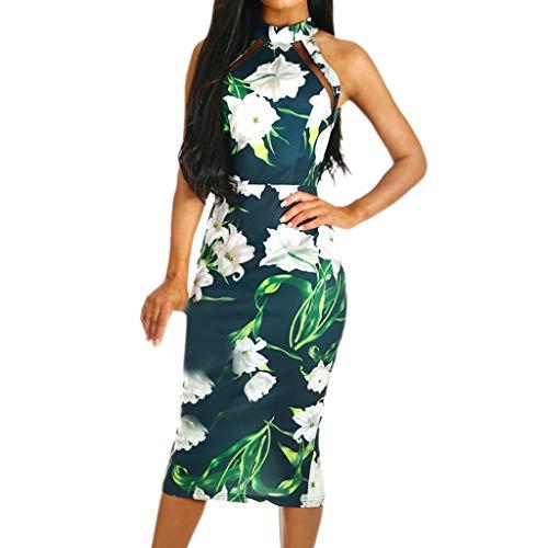 Auifor Werk casual rozendruk O-aanzet korte mouwen mini-jurk