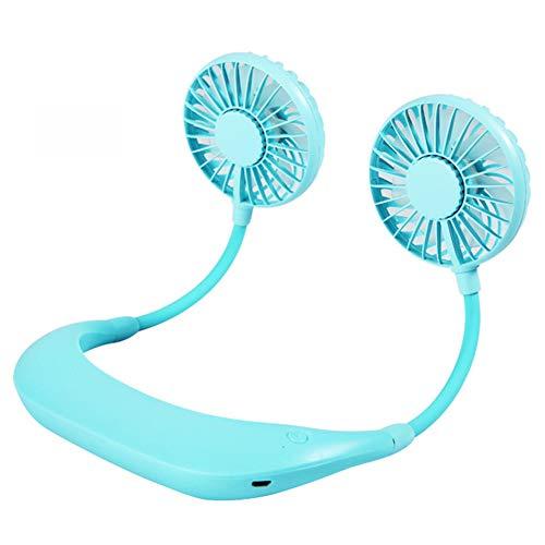 JH&MM Mini Doble del Cuello Aficionados USB Recargable portátil usable Banda para el Cuello del Ventilador 3 velocidades Ajustables para la Oficina en casa,Azul