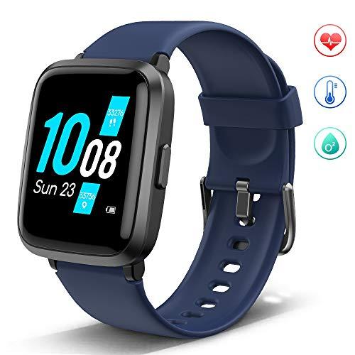 Lintelek Smartwatch Fitness Armband mit Blutdruck Messgeräte Herzfrequenzmesser Schlafmonitor,Voll-Touchscreen Wasserdicht 5ATM Fitness Tracker für Damen Herren Kompatibel iOS und Android (Blau)