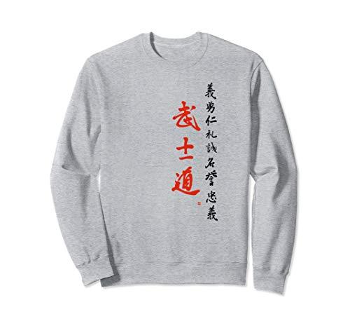 Bushido Ehrenkodex Japan 7 Tugenden der Samurai Kalligrafie Sweatshirt