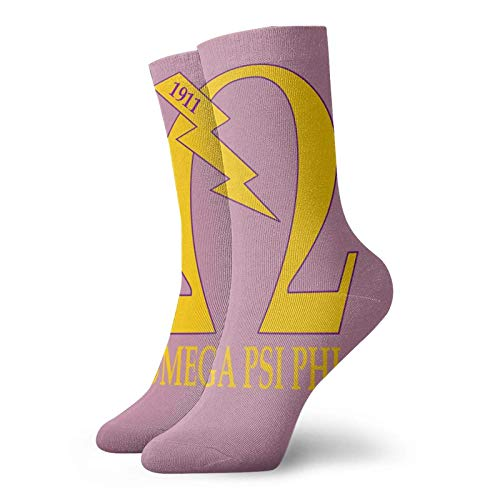 Omega Psi Phi Funny Socks for Men & Women,Fun Socks,Crazy Colorful Cool Novelty Cute Dress Socks 3.3× 11.8 inches