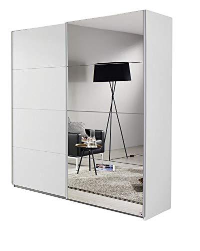 Schwebetürenschrank Bill weiß 2 Türen B 181 cm Jugend Schlafzimmer Schrank Kleiderschrank Schiebetürenschrank Spiegelschrank
