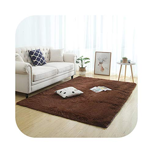 Large Living Room Rugs, Lambswool Carpet Thicken Living Bedroom Bedside Carpet Non-Slip Kid Play Crawling Rug Plush Hanging Basket Balcony Mat Gray-Brown-60x200cm(23x78.7in)