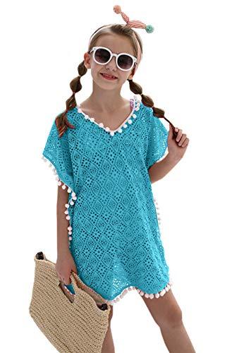 DUSISHIDAN Mädchen Strandkleid Bikini Cover Up Sommer Quaste Strandponcho mit Kleiner Wollball Einheitsgröße Blau