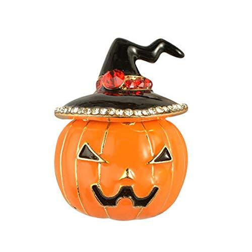 Broche de calidad prmium para disfraz de Halloween, diseo de bruja con pedrera esmaltada, diseo de calabaza, color naranja