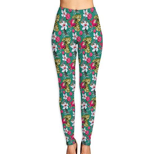 Flyup Women Yoga Pant Tropical Lily High Waist Fitness Workout Leggings Pants