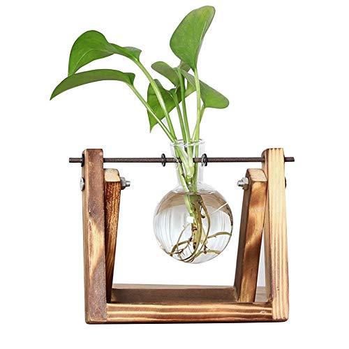 Lynn025Keats - Jarrón de cristal con soporte de madera maciza retro y soporte giratorio de metal para plantas hidropónicas, decoración del hogar y la oficina