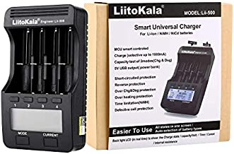 LiitoKala Lii-500 LCD Display Smart Universal Battery Charger with Car Adapter, Intelligent Charger for 3.7V Li-ion/1.2V Ni-MH Cylindrical 18650/26650/14500/21700/AA/AAA Battery-Capacity Test