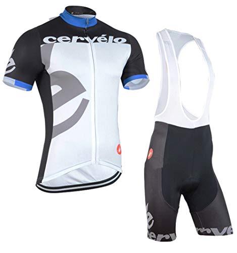 Men Cycling Jersey Team Bike Shirts Short Sleeves Biking Clothing Sets (Medium,D)