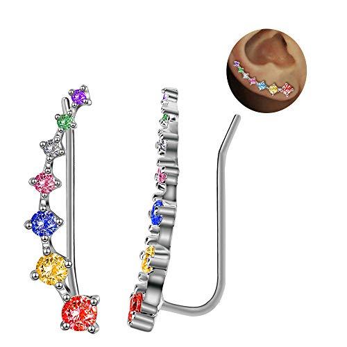 7 Cristales Ear Cuffs Hoop Climber S925 Sterling Pendientes de plata Pendiente hipoalergénico (Colorful)
