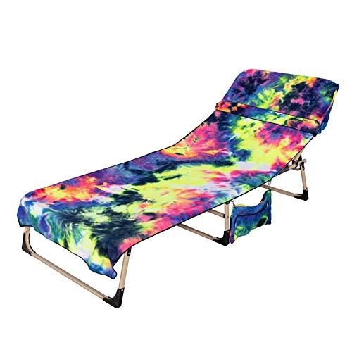 Susue Strandkörbe Strandstuhl cómoda Krawattengefärbter Sitzbezug de microfibra con Aufbewahrungsrucksack Strandkorb Handtuchset (L * B): 75 * 210 cm zafiro