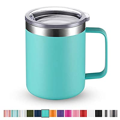 Civago Stainless Steel Coffee Mug Cup with Handle, 12 oz Double Wall Vacuum Insulated Tumbler with Lid Travel Friendly