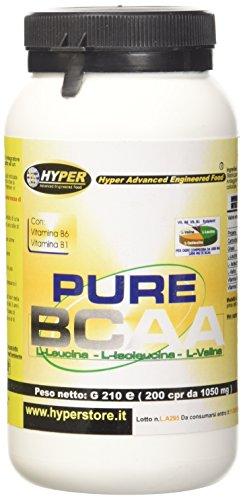 Hyper Aminoacidi Ramificati Purissimi BCAA con Vitamine B6 e B1-200 Compresse