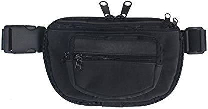 Large - DTOM Concealed Carry Fanny Pack Rugged Ultra-Soft Suede Leather-Black