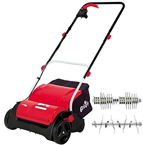 Grizzly Elektro Vertikutierer - Elektrischer Rasen Vertikutierer, Belüfter mit 1200 Watt Motor, 31 cm Arbeitsbreite und klappbaren Griff, Vertikutierer + Lüfterwalze + Fangsack