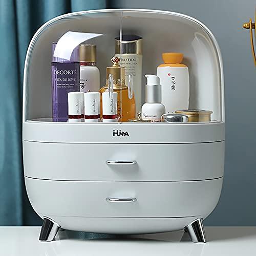 Ihuiniya Modern Makeup Storage Organizer Box Cosmetics storage display rack with drawer,Waterproof, dustproof, elegant display cabinet,Suitable for bathroom countertop, bedroom dresser (Medium Gray)
