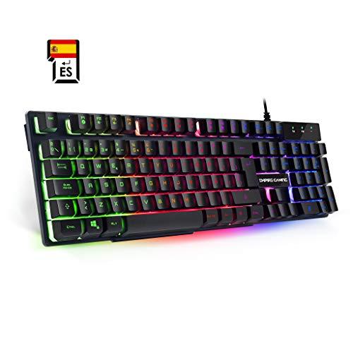 ✪UNA PULSACIÓN CÓMODA: El teclado de juegos EMPIRE K300 cuenta con 105 teclas QWERTY semi-mecánicas que ofrecen las sensaciones de un teclado mecánico aún disponiendo de la tecnología de membrana. ¡Reactividad, velocidad y precisión califican perfect...