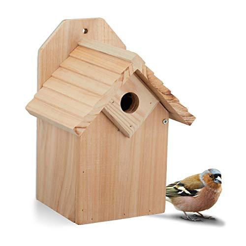 Relaxdays Nistkasten für Vögel, 28 mm Einflugloch, Vogelhaus zum Aufhängen, unbehandeltes Holz, HBT: 25x19x16 cm, Natur