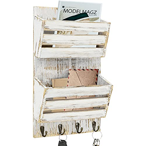 Rustic Key and Mail Holder for Wall with 4 Key Hooks, 2-Slot Mail Sorter Organizer Wall Mounted, Key Holder Mail Sorter Letter Bills Magazine Organizer for Entryway Mudroom Hallway Office Garage
