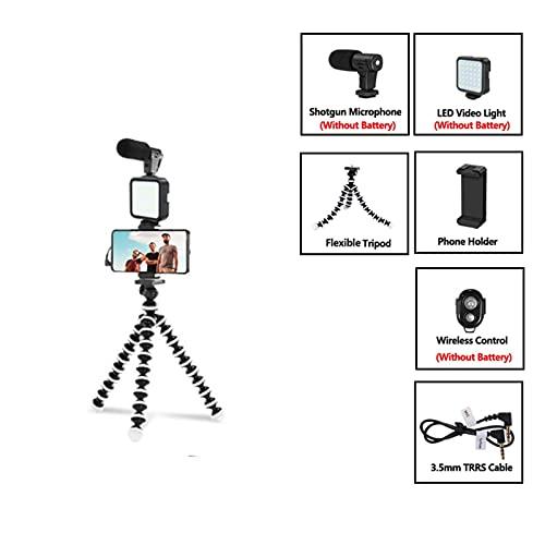 liuchenmaoyi mikrofon för att sjunga Micrófono Condensador con trípode LED Light Light para EL TELÉFONO Profesional DE Video DE Video para LA ENTREVISTA Live Grabación spelmikrofon (Color : Kit 03LM)