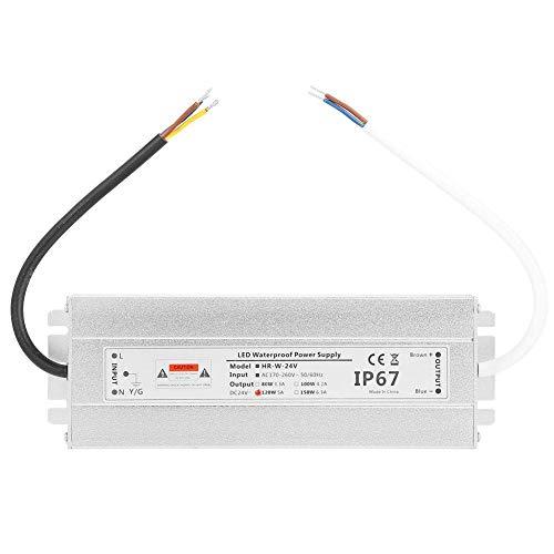 Onior Fuente de alimentación LED resistente al agua, a prueba de polvo 24V 120W 5A cinta de luz LED fuente de alimentación impermeable IP67 conductor del LED Transformador for lámpara de interior Tira