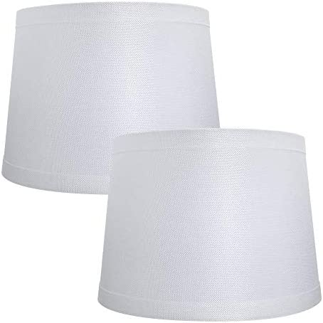 Double Medium Lamp Shades Set of 2 Alucset Drum Fabric Lampshades for Table Lamp and Floor Light product image