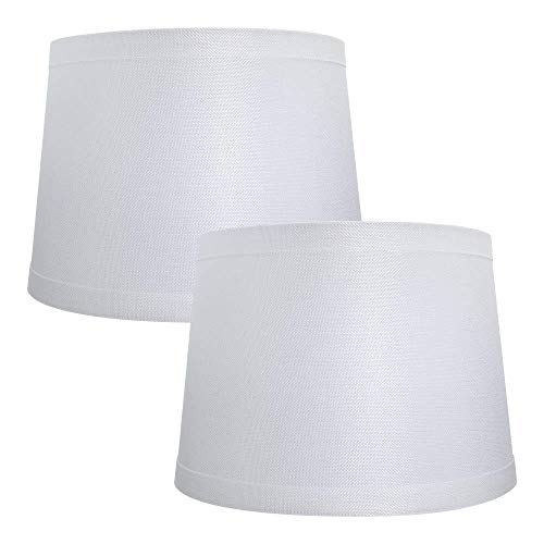 Double Medium Lamp Shades Set of 2, Alucset Drum Fabric Lampshades for Table Lamp and Floor Light, 10x12x8 inch, Natural Linen Hand Crafted, Spider (White, 2pcs in 1 Cartoon Box)