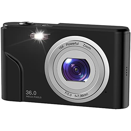 デジカメ WINAKETH デジタルカメラ 3600万画素 1080P録画 8MP CMOSセンサー搭載 手ぶれ補正 光学16倍ズーム 多機能 顔検出 3連写 2.44インチIPS液晶パネル 黒色