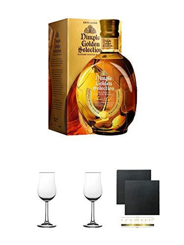 Dimple Golden Selection Blended Scotch Whisky 0,7 Liter + 2 Bugatti Nosing Gläser mit Eichstrich 2cl und 4cl + 2 Schiefer Glasuntersetzer eckig ca. 9,5 cm Ø