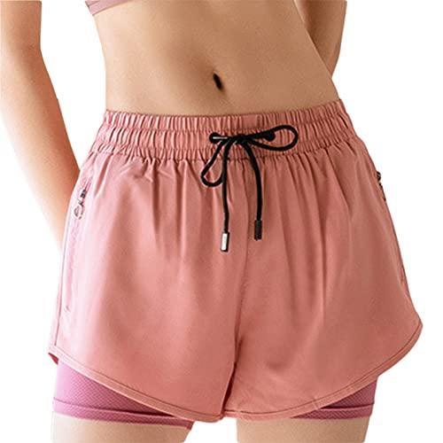 BEAUTYOO Pantalones cortos transpirables de doble capa para mujer, pantalones cortos de pijama, pantalones cortos deportivos para yoga, deportes, gimnasio, rosa, M