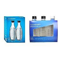 sodastream, 2 bottiglie per gasatore d'acqua, vetro, trasparente/nero, 9.5 x 9.5 x 27.5 cm, 2, unità & sodastream bottiglie universali per gasatore d'acqua, capienza 1 litro, confezione da 3