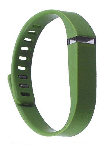 iTecoSky Correa de repuesto y cierre inteligente de repuesto para pulseras Fitbit Flex, pulsera de actividad inalámbrica con cierre de metal (verde oscuro)