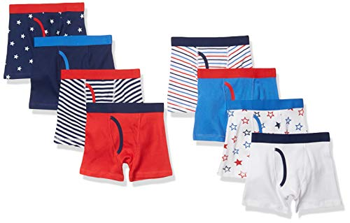 Amazon Essentials Boy's 8-Pack Boxer Brief, Stars and Stripes, XS