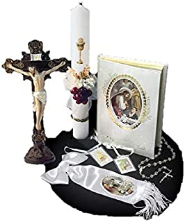 Spanish Handmade First Holy Communion Set for Boy Holy Table-Top Crucifix Crucifix Jesus on Cross, Candle, Bible, Illustrated Armband and Rosary –Religious Gift