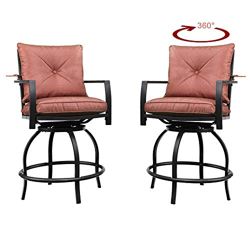 PatioFestival Patio Bistro Set Outdoor Stools Swivel Bar Height Patio Chairs with Cushion Garden Balcony Furniture 2 Pack(Red)
