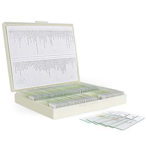100 piezas Portaobjetos de Microscopio Preparados con Muestras Biológicas, Plantas de Insectos células Humanas para Laboratorio de Biología y Estudio de Ciencias MAXLAPTER