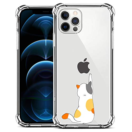 ZIYE Compatible with iPhone 12 and for iPhone 12 Pro Clear Case with Design Cat Flexible TPU Shockproof Protective Case Cute Funny Case for iPhone 12 and for iPhone 12 Pro 6.1 Inch 2020 Sitting Cat