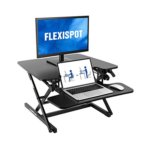 "FlexiSpot Motorized Standing Desk Converter- 35"" Wide Electric Stand up Desk Computer Desk Riser with Quick Release Keyboard Tray EM8MB"