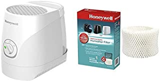 Honeywell oneywell Cool Moisture Humidifier White Ultra Quiet with Auto Shut-Off & Wicking Filter for Small to Medium, Baby Room, 1 with HC-888N Replacement Humidifier Filter C