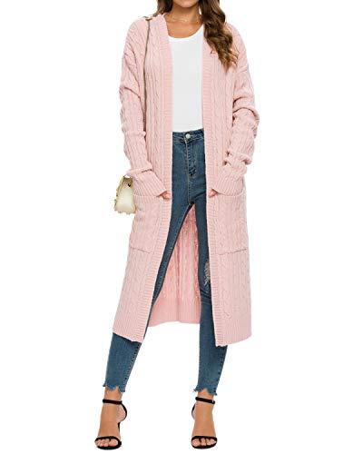MINTLIMIT Damen Strickjacke Langer Lightweight Open-Front Cardigan Sweater mit Taschen Pink S