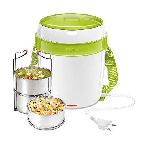 Milton Futron Stainless Steel Electric Lunch Box, (3 Containers), Green