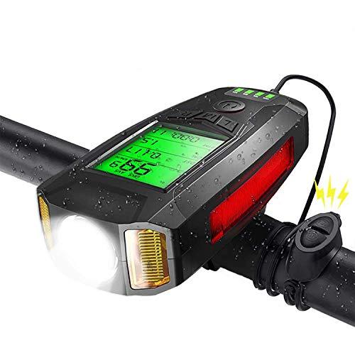Shermosa Luz delantera para bicicleta recargable por USB, con ordenador para bicicleta con tacómetro, contador de colorias, con bocina para bicicleta, multifunción, color negro