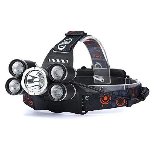 Linterna Frontal Cabeza LED con Baterías35000LM 5x CREE XM-L T6 LED, Holacha Lámpara de cabeza Faro Recargable Impermeable Perfecto para Camping, Pesca, Luz de Emergencia, Exterior e Interior