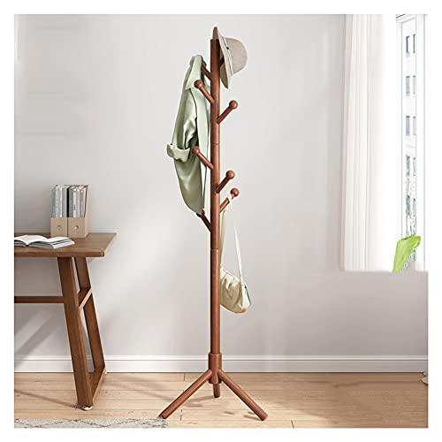 Stående klädhängare Stå hatt rack trä kappa rack fristående kappa träd med 8HOOKs Triangle Base Modern Coat Jackets hängare för sovrum Hallway entryway Klädhängare (Color : Brown)